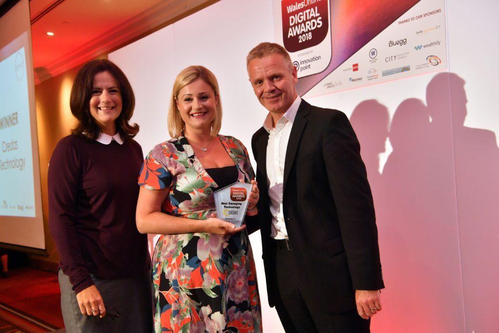 Emma Williams of Credas accepting the Wales Online Digital Award