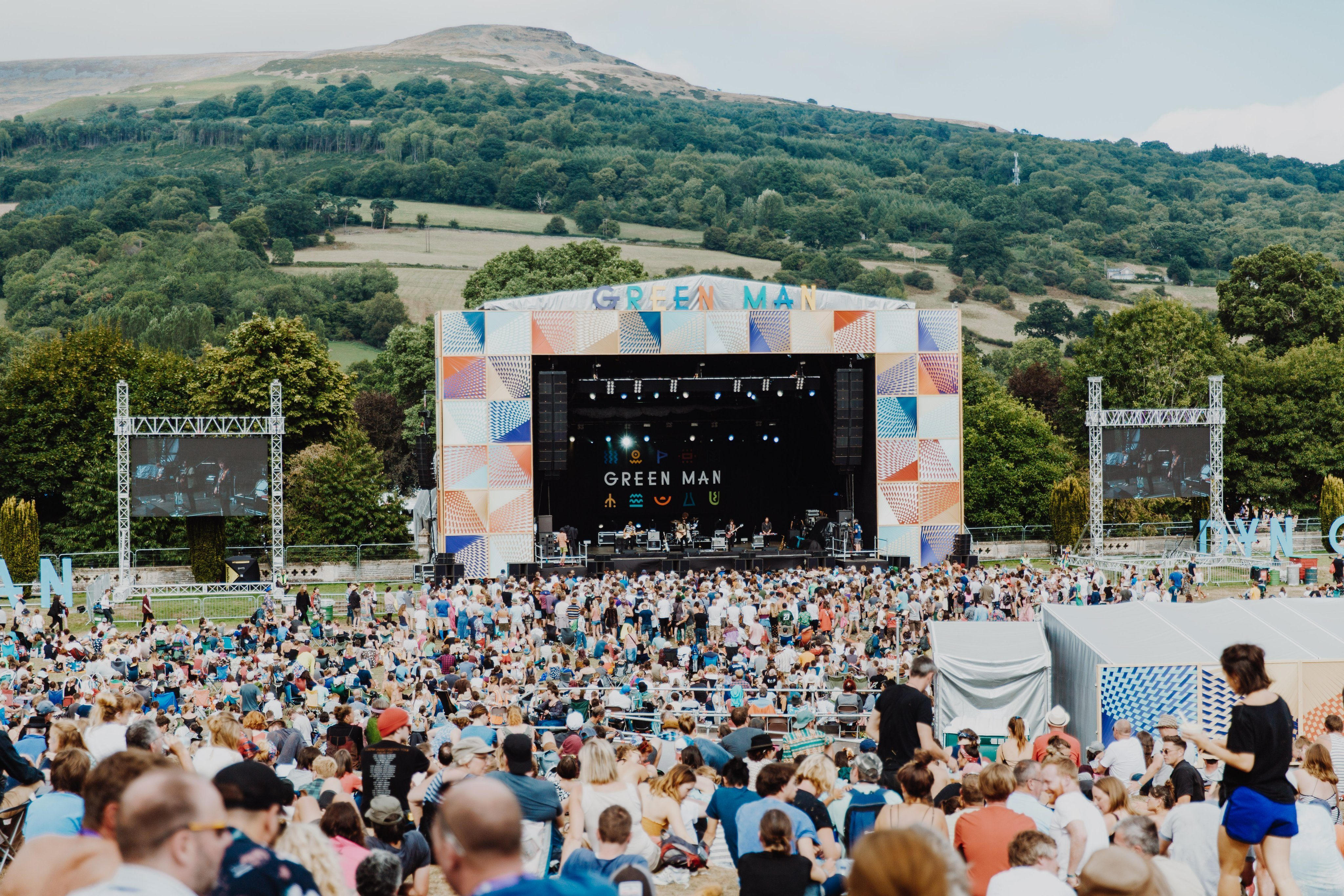 The crowd and main stage at Green Man festival 2019
