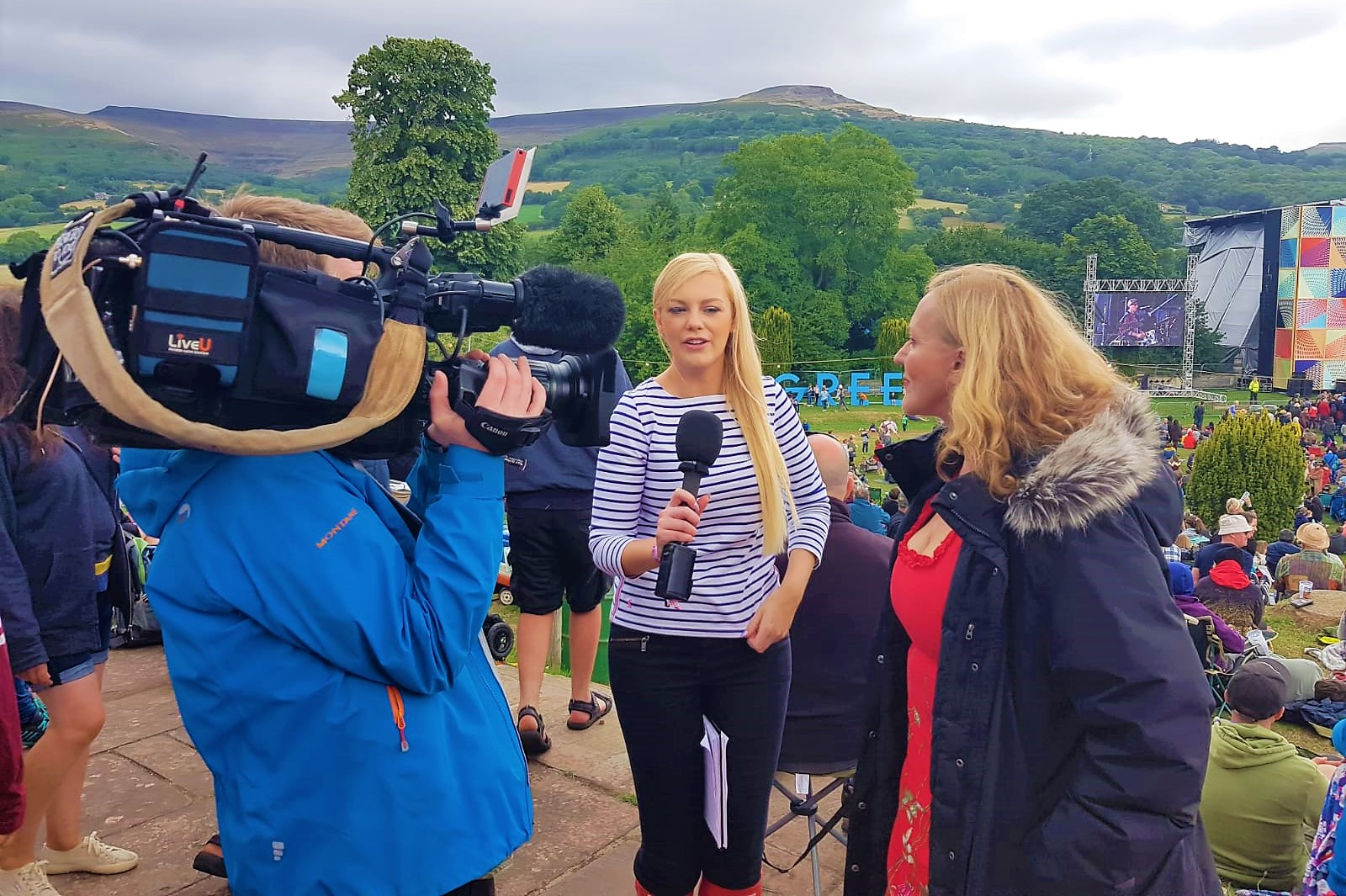 ITV Wales film the weather at Green Man festival