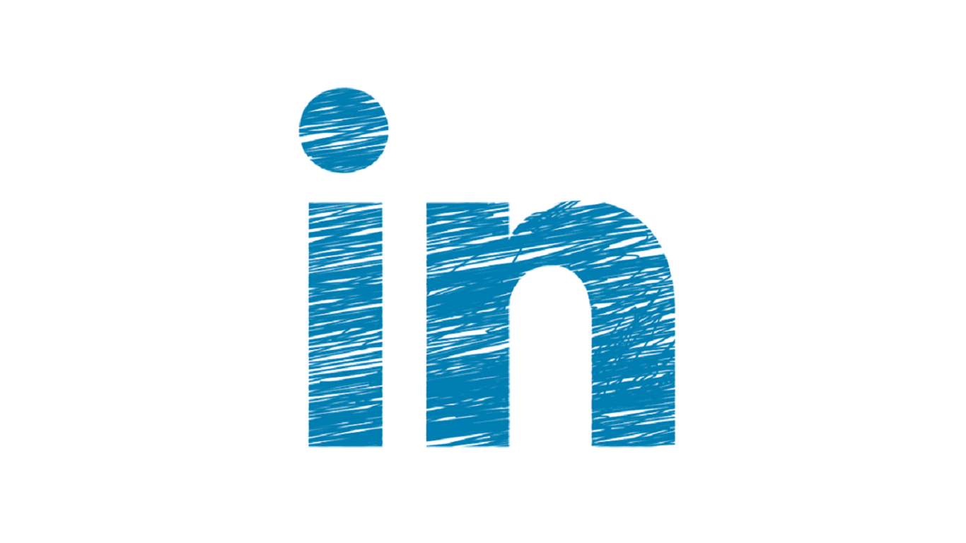the blue LinkedIn logo on a white background