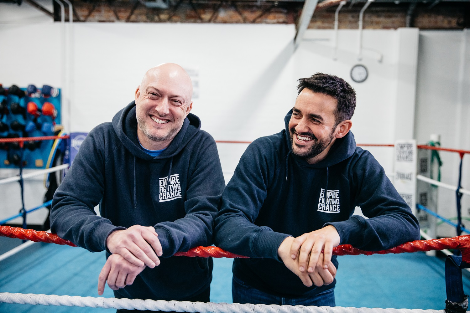 Martin Bisp and Jamie Sanigar of Empire Fighting Chance in the boxing ring