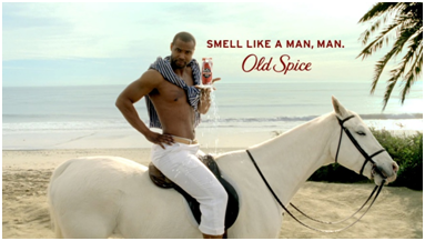 Isaiah Mustafa on a horse with Old Spice
