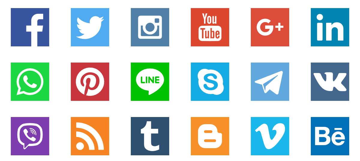A collection of logos for various social media platforms