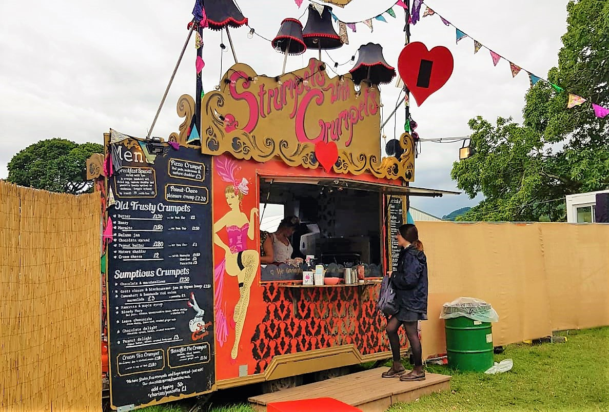 Strumpets with Crumpets food stand at Green Man