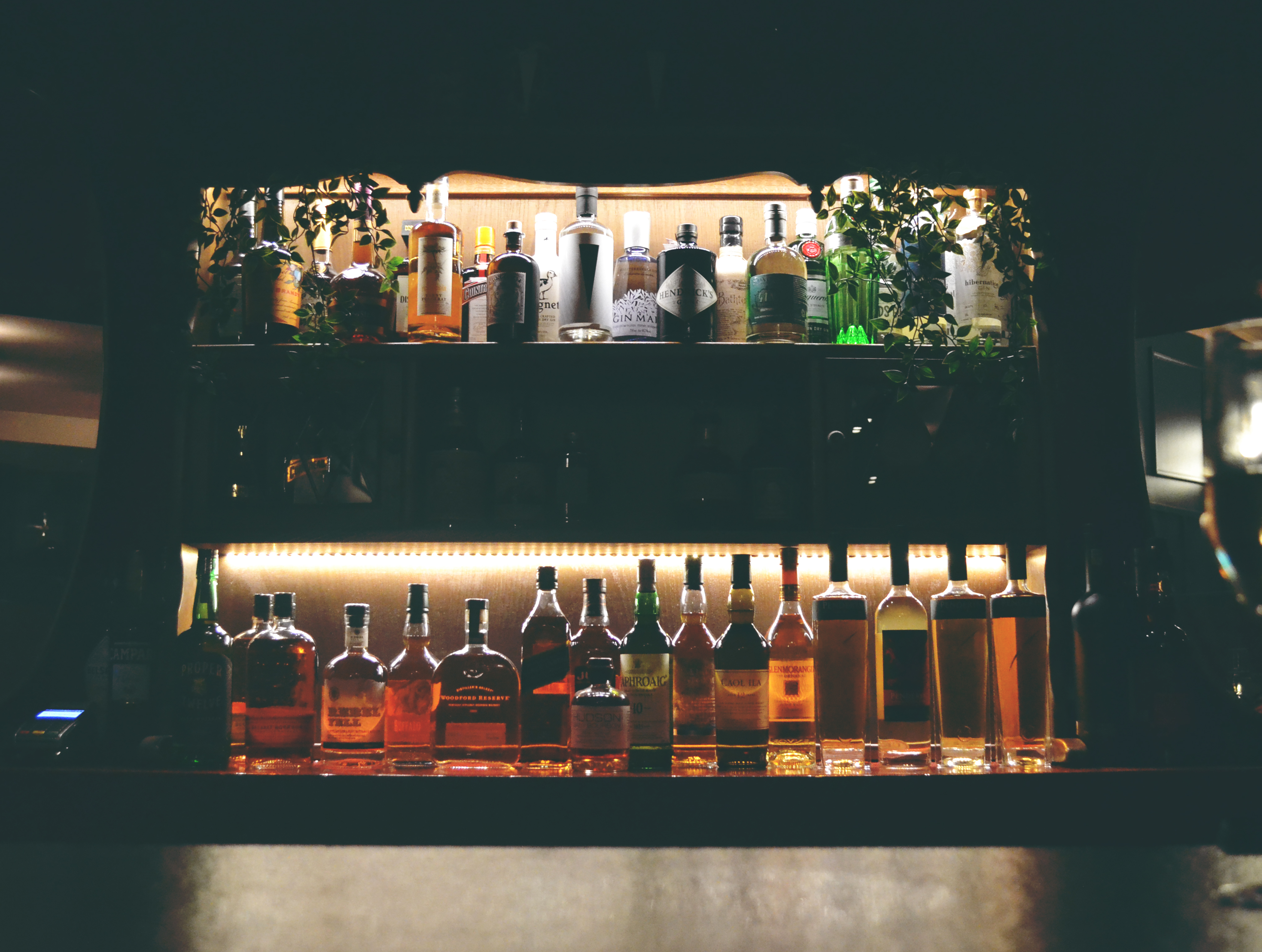 The bar fully stocked at Thomas by Tom Simmons in Cardiff