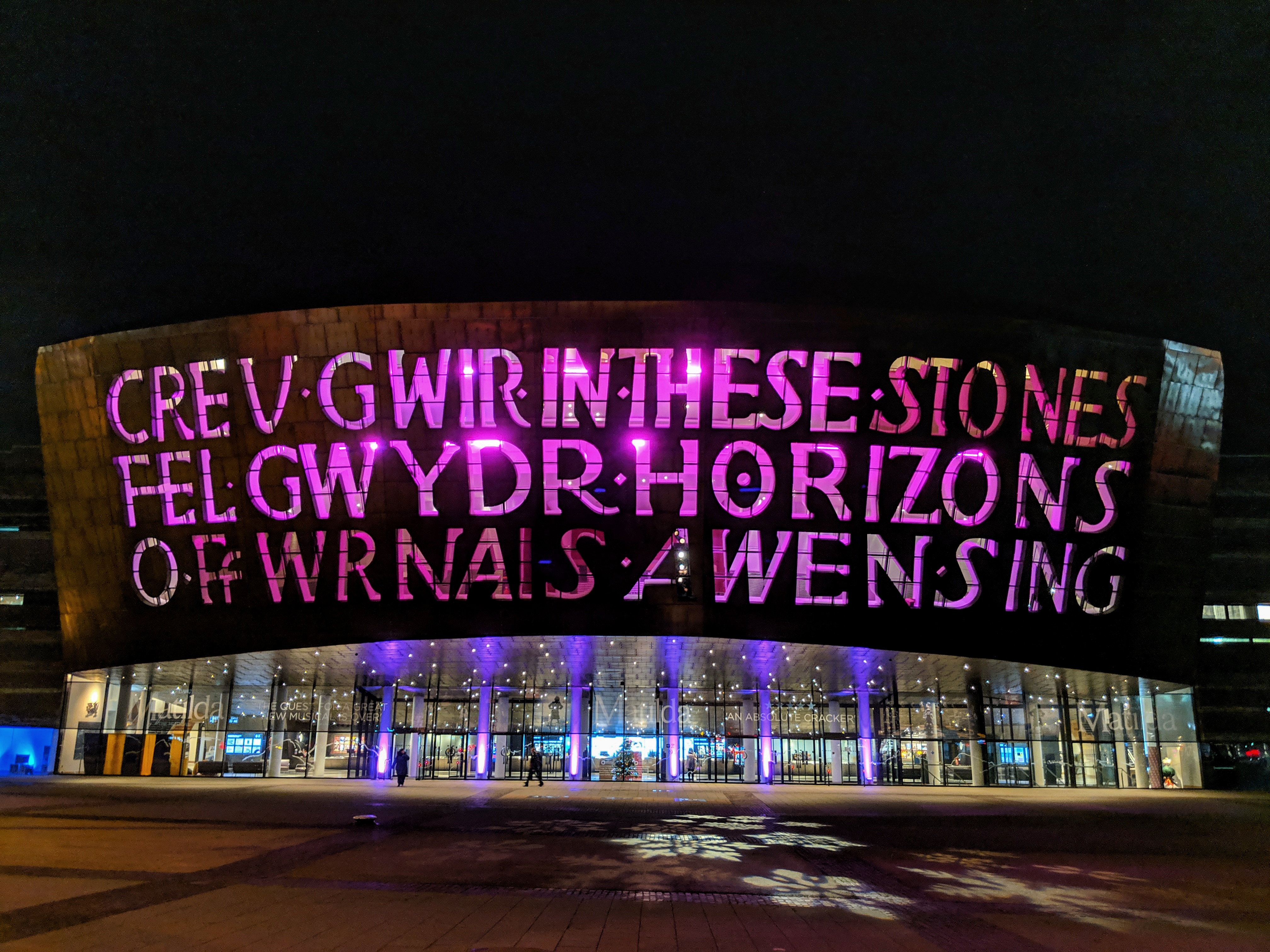 Wales Millennium Centre lighting up purple in Cardiff