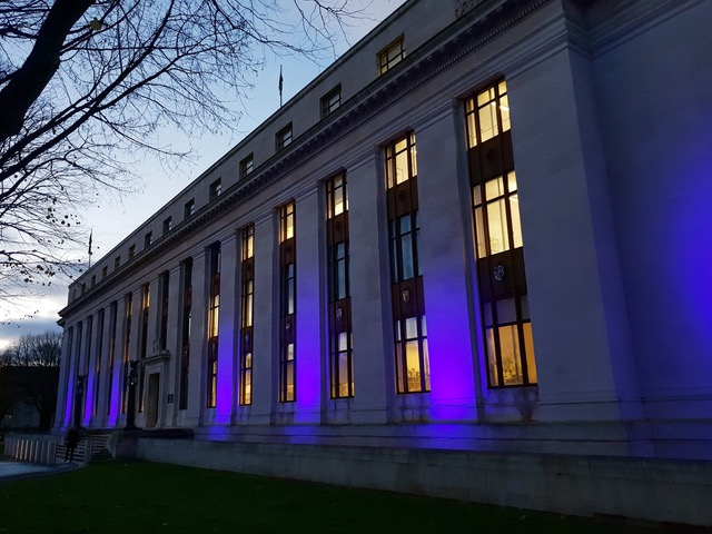 Welsh Government building lit up purple