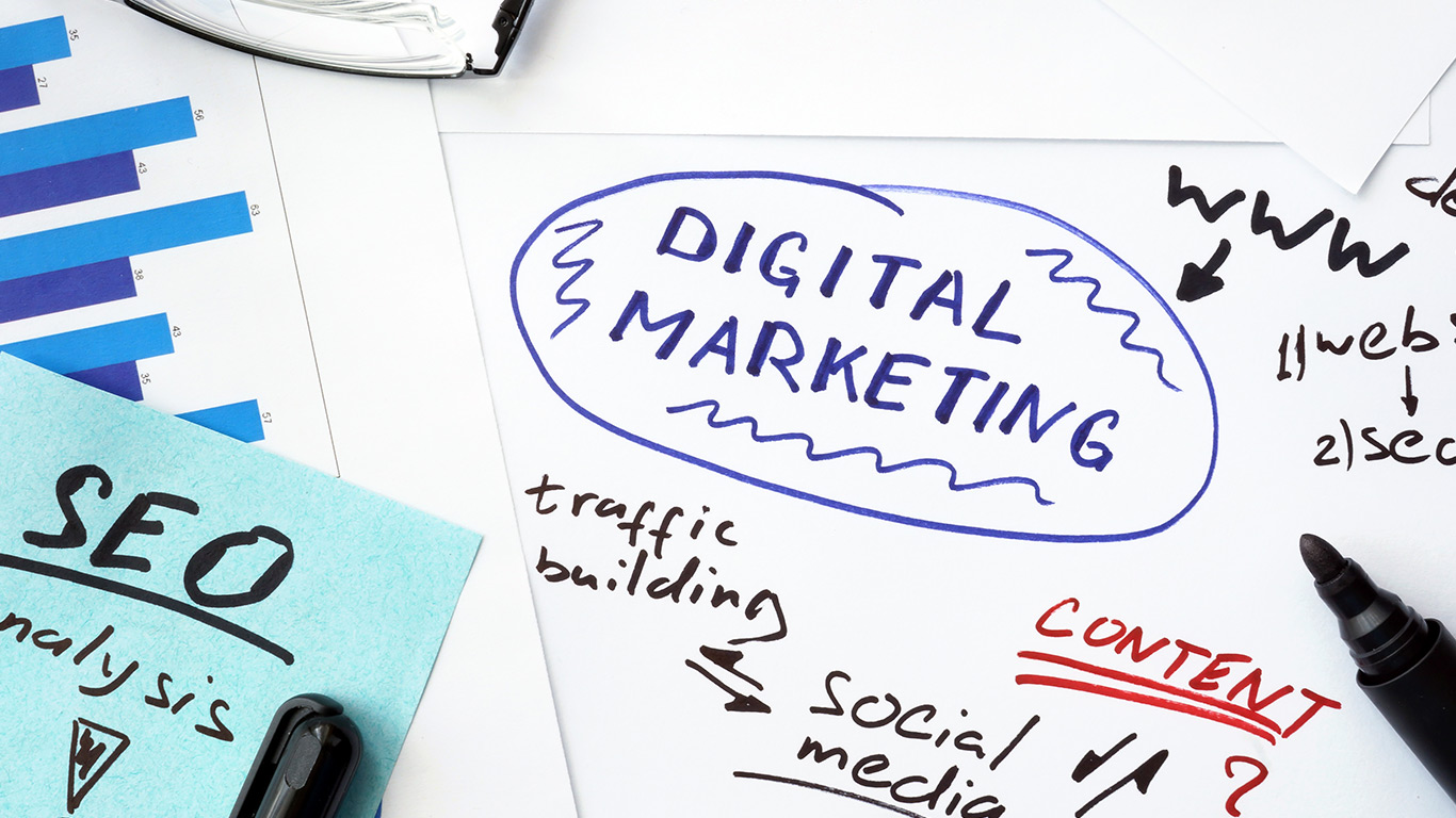 A notepad with a to-do list, the list includes SEO and digital marketing.