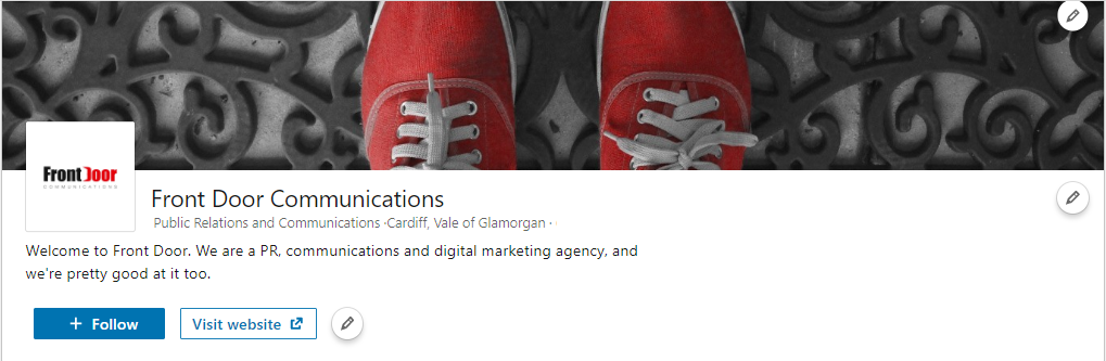 The Front Door Communications LinkedIn page, complete with company information.