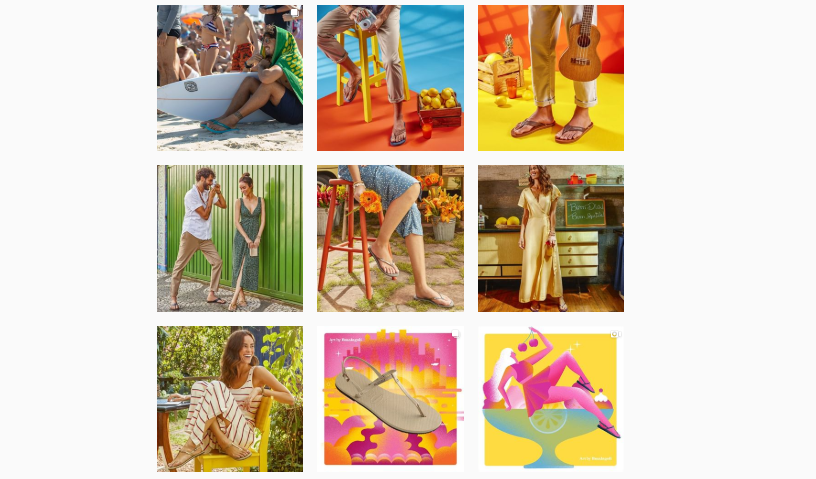 The Havaianas Instagram page displaying 9 brightly coloured branded photos