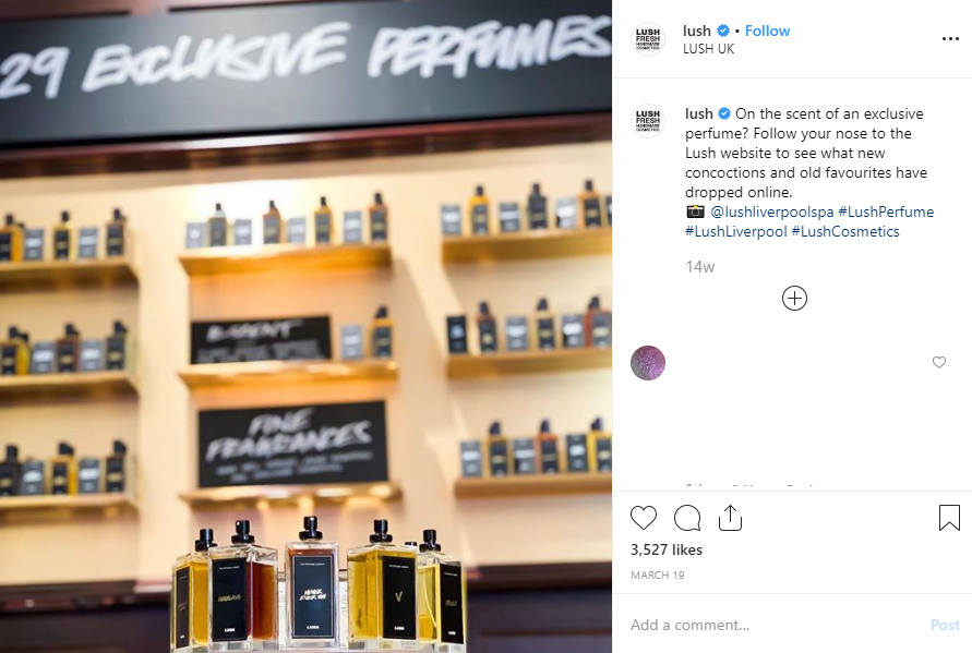 Lush Cosmetics Instagram page showing a set of perfume bottles in store and a caption to the right