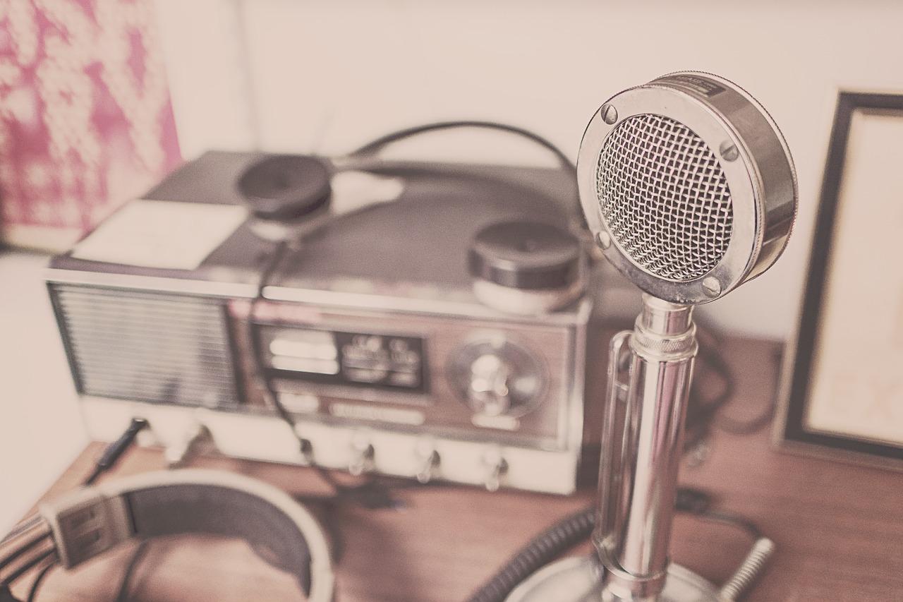microphone, headphones and radio