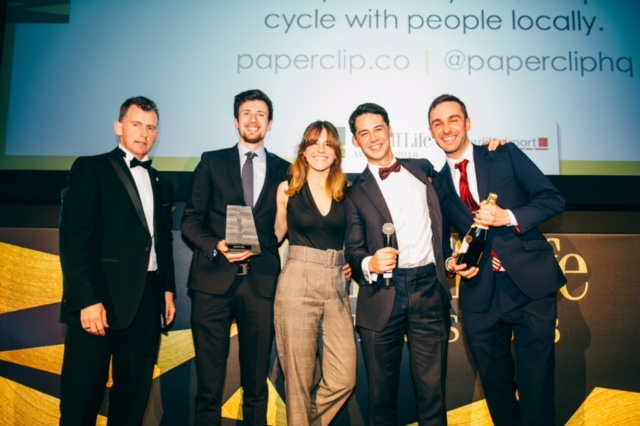 The Paperclip team picking up their Cardiff Life Award