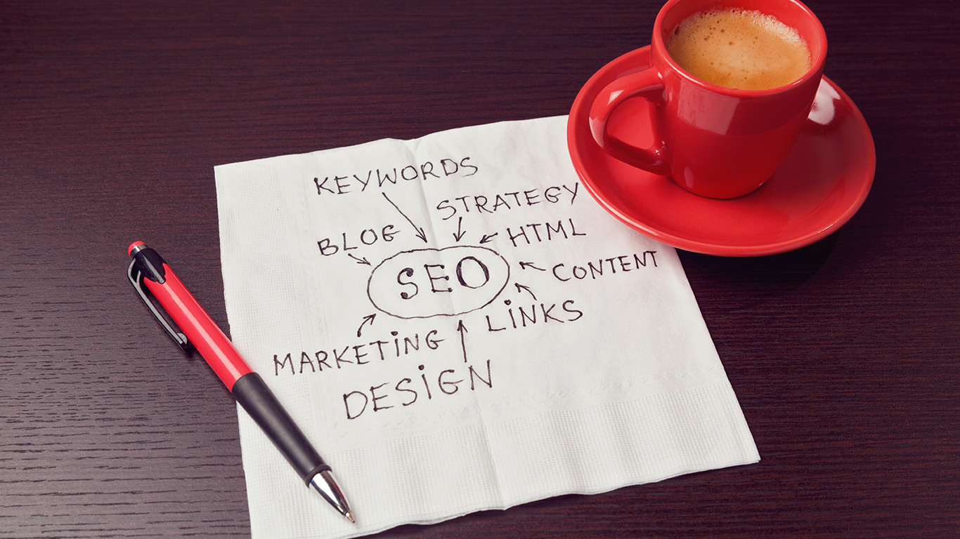 SEO - Diagram on napkin with coffee cup