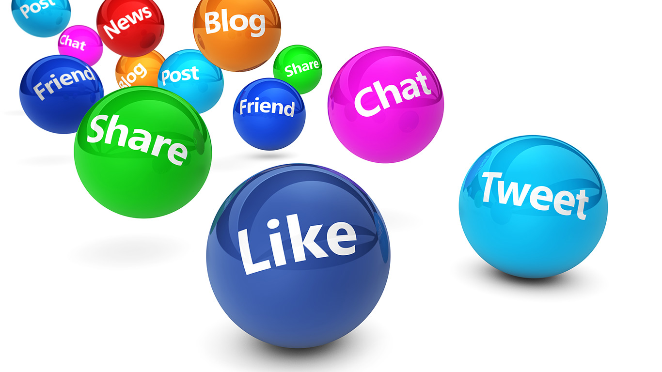 Social Media Web Signs including like, tweet and chat.